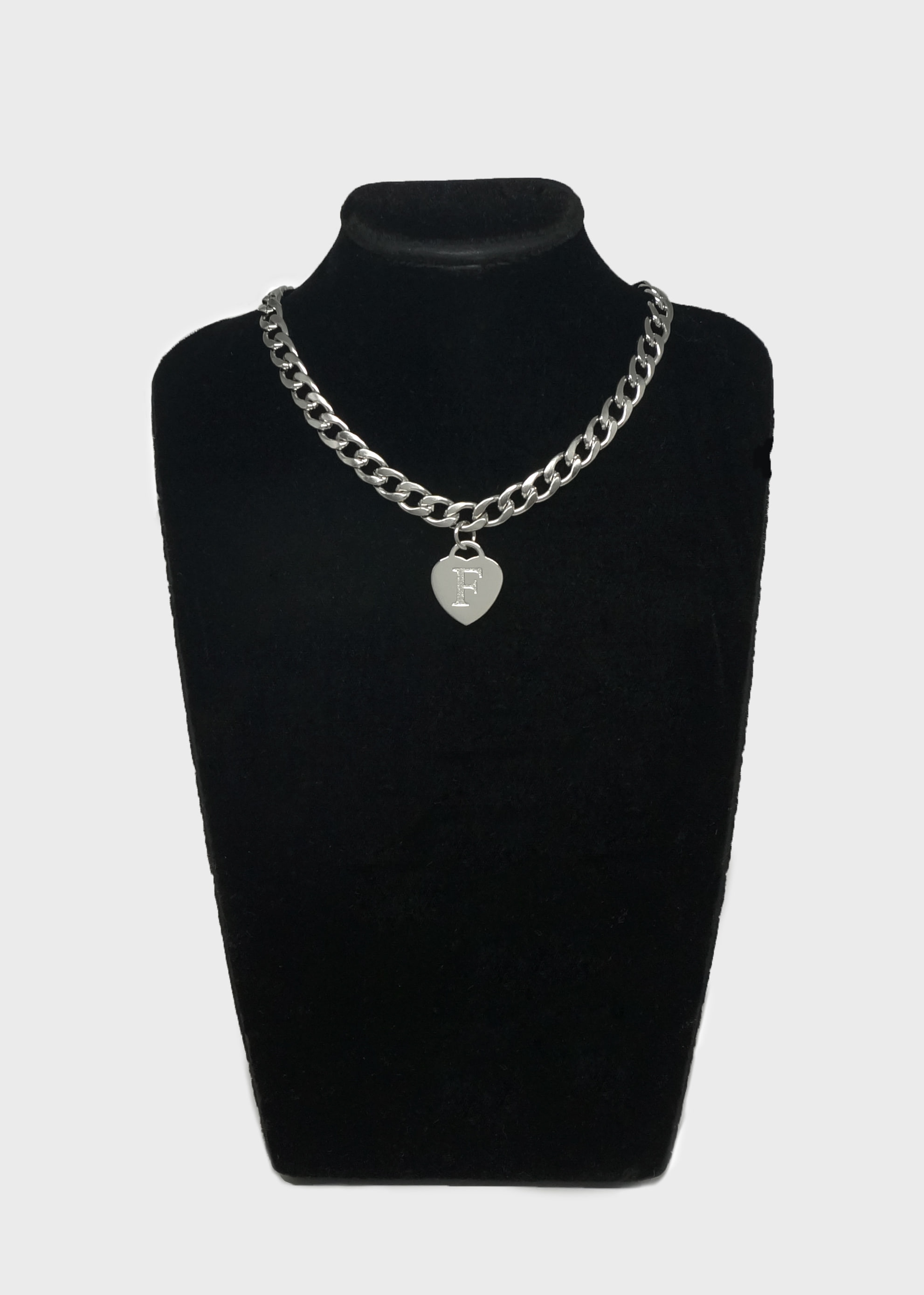 Bold Chain Heart F Choker Necklace