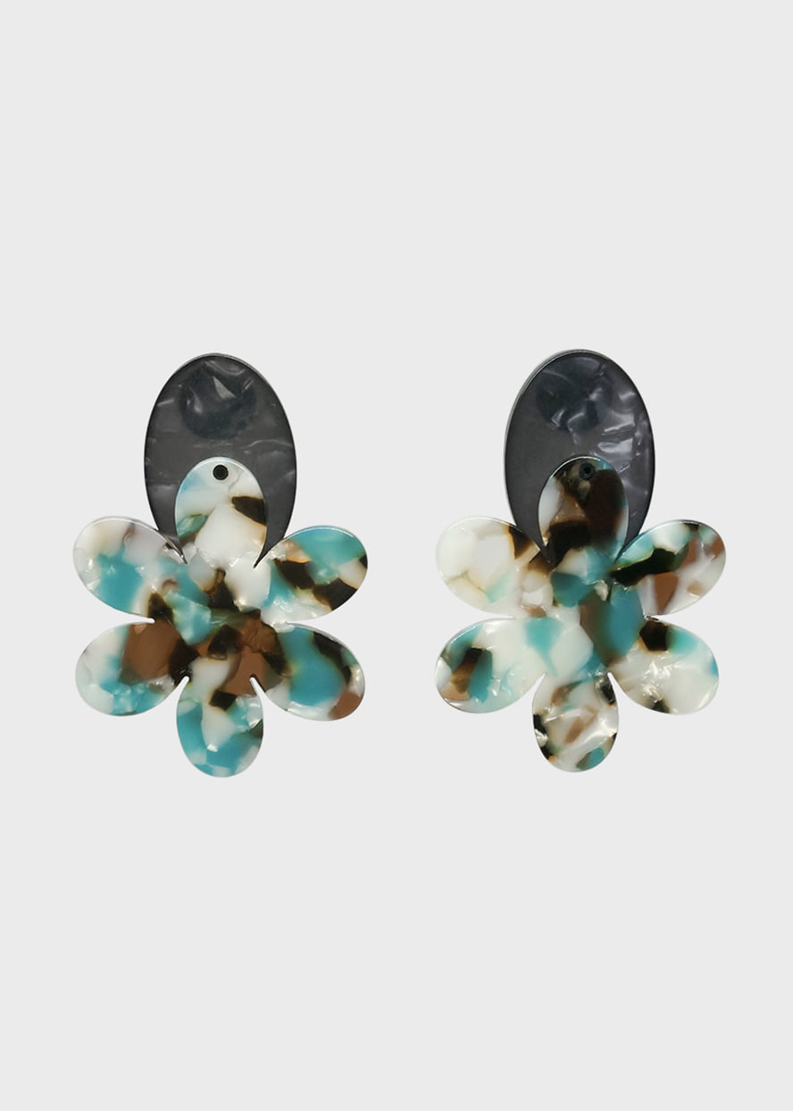 Leopard Big Flower Acrylic Earring